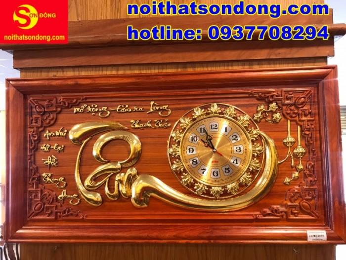 Tranh đồng hồ chữ Tâm dát vàng giá cực sốc2