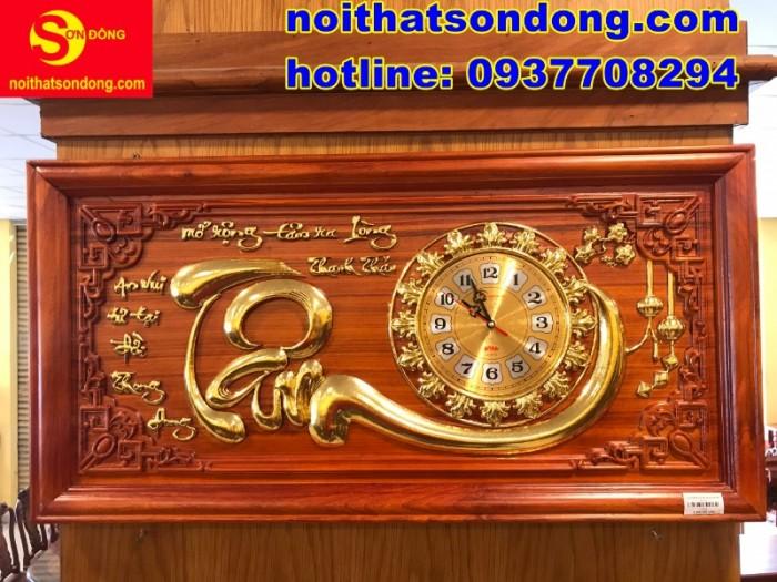 Tranh đồng hồ chữ Tâm dát vàng giá cực sốc3