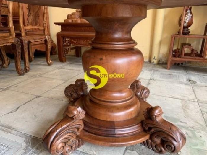 Mặt bàn ăn tròn nguyên tấm 1,2m x dày 12cm MBA06DPA mẫu VIP0