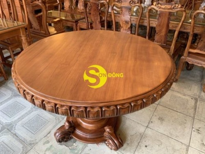Mặt bàn ăn tròn nguyên tấm 1,2m x dày 12cm MBA06DPA mẫu VIP1