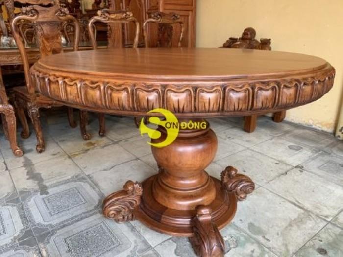 Mặt bàn ăn tròn nguyên tấm 1,2m x dày 12cm MBA06DPA mẫu VIP7