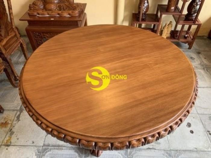 Mặt bàn ăn tròn nguyên tấm 1,2m x dày 12cm MBA06DPA mẫu VIP8