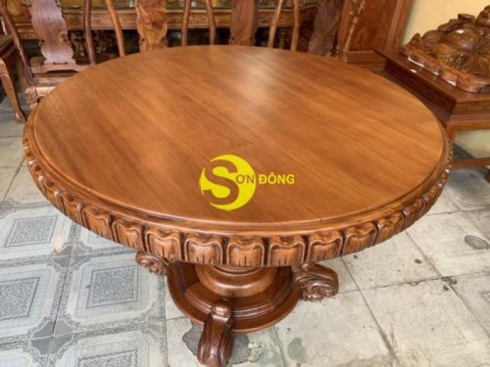 Mặt bàn ăn tròn nguyên tấm 1,2m x dày 12cm MBA06DPA mẫu VIP2