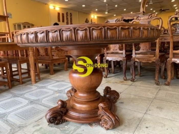 Mặt bàn ăn tròn nguyên tấm 1,2m x dày 12cm MBA06DPA mẫu VIP5
