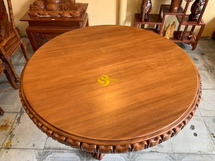 Mặt bàn ăn tròn nguyên tấm 1,2m x dày 12cm MBA06DPA mẫu VIP6