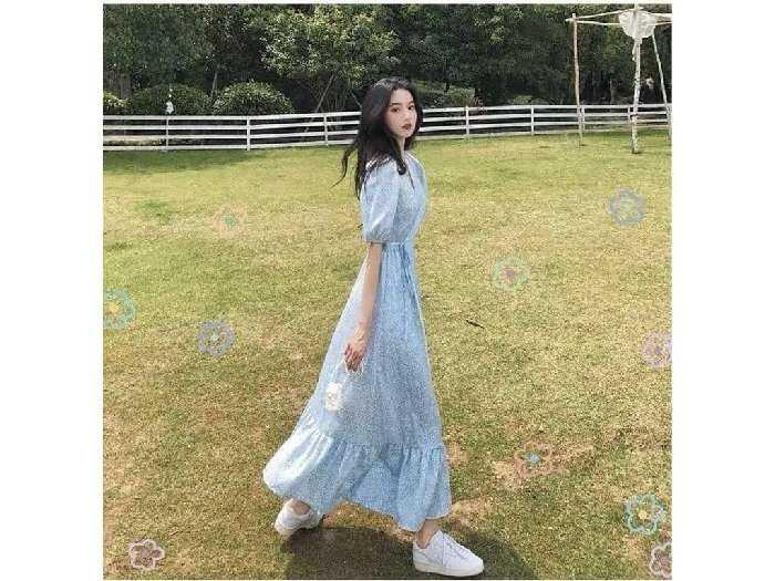 Đầm váy nữ maxi xòe hoa xanh tay phồng3