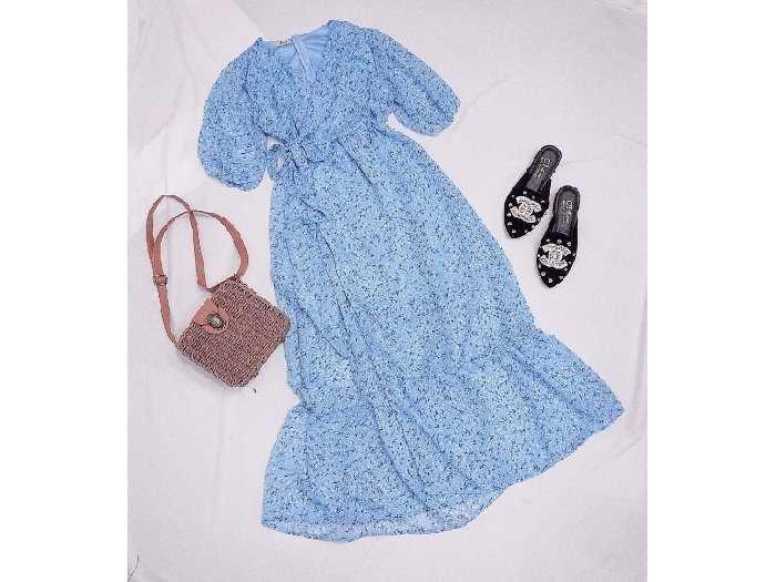 Đầm váy nữ maxi xòe hoa xanh tay phồng4