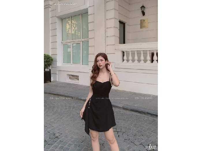 Đầm váy nữ 2 dây vạt bèo tà xéo 2 lớp3