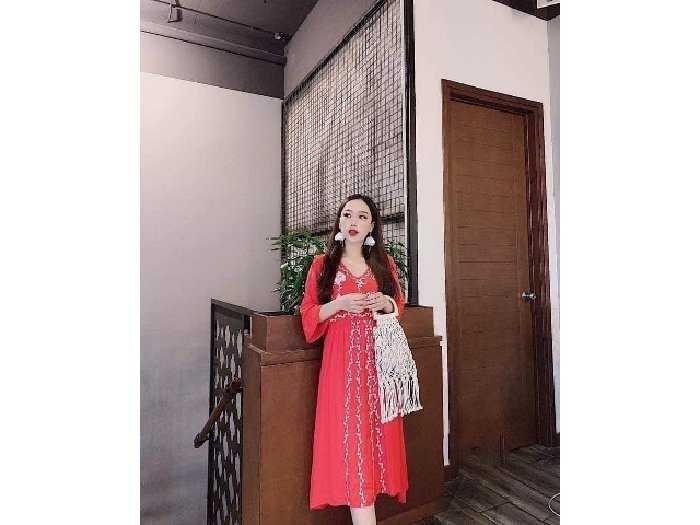 Đầm váy nữ đỏ đũi thêu hoa dág xòe bo eo0