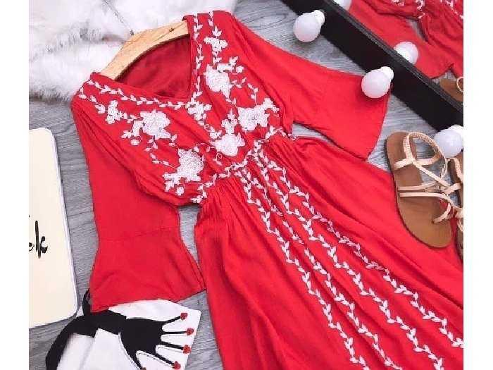 Đầm váy nữ đỏ đũi thêu hoa dág xòe bo eo2