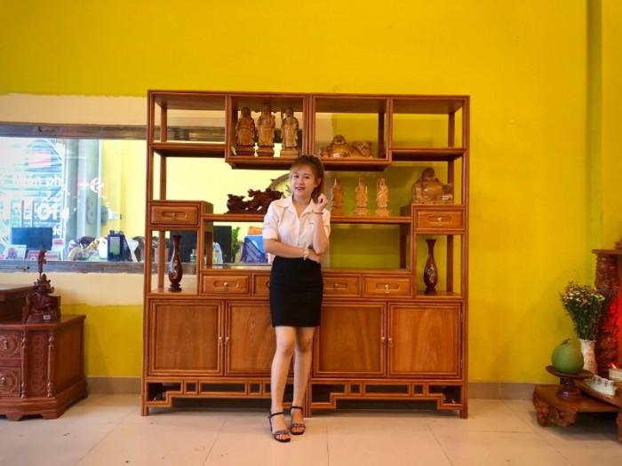Kệ trang trí đẹp gỗ gõ đỏ 100% chất lượng tại quận 70