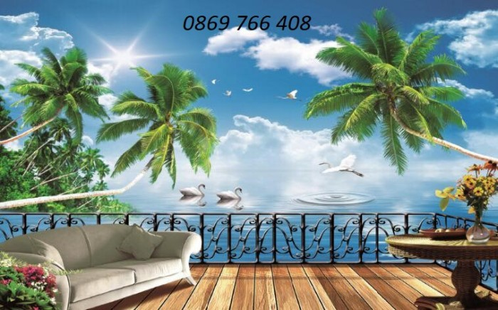 Tranh gạch 3D phong cảnh bãi biển3