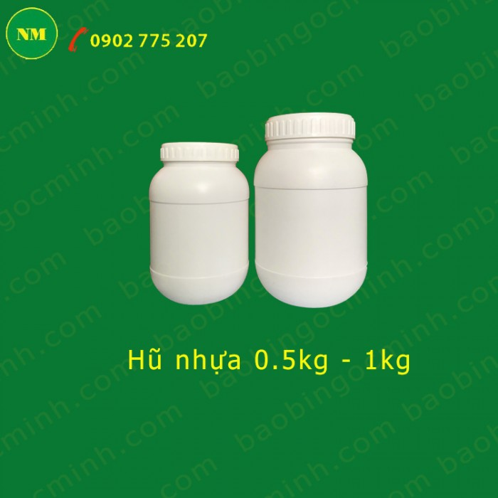 Hủ nhựa 500gr, hủ 2 ngấn, hủ nhựa 1kg đựng bột, hủ nhựa 1kg đựng men vi sinh.10