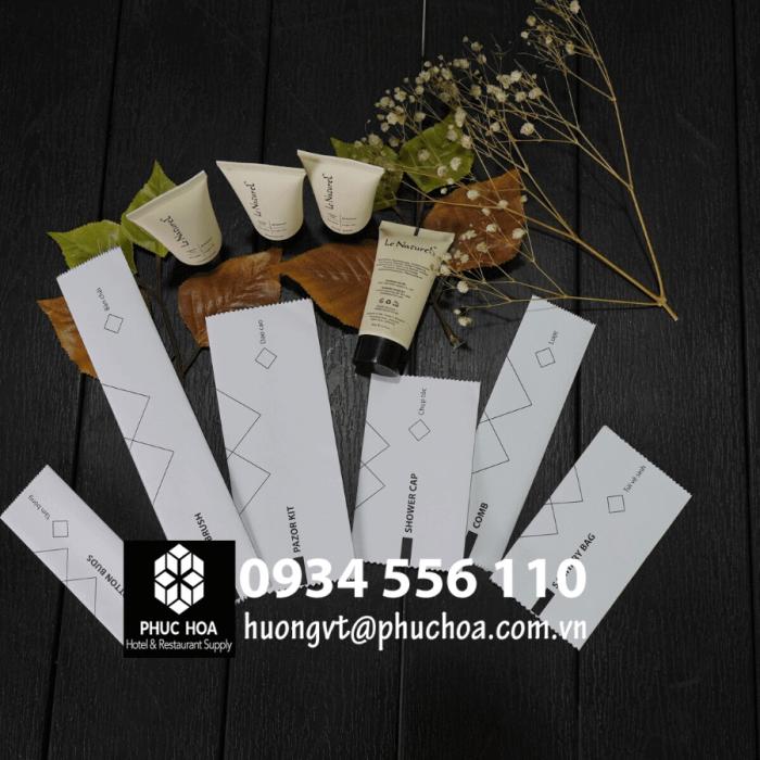 Bộ đồ amenities giấy craf trắng có sẵn0