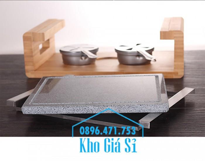 Cung cấp miếng đá, tấm đá nướng thịt Hàn Quốc BBQ hình chữ nhật có đế gỗ0