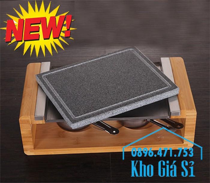 Cung cấp miếng đá, tấm đá nướng thịt Hàn Quốc BBQ hình chữ nhật có đế gỗ5