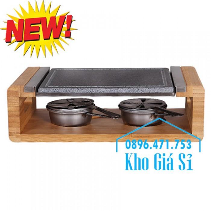 Cung cấp miếng đá, tấm đá nướng thịt Hàn Quốc BBQ hình chữ nhật có đế gỗ12