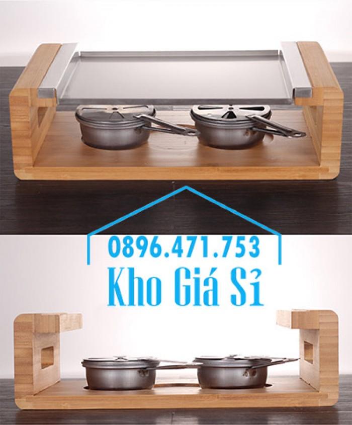Cung cấp miếng đá, tấm đá nướng thịt Hàn Quốc BBQ hình chữ nhật có đế gỗ13