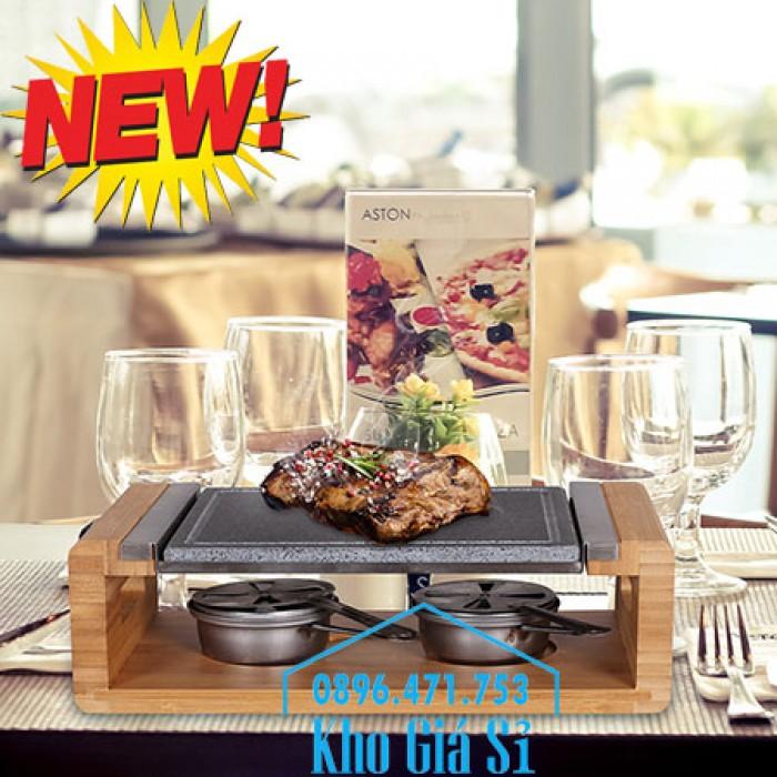Cung cấp miếng đá, tấm đá nướng thịt Hàn Quốc BBQ hình chữ nhật có đế gỗ10