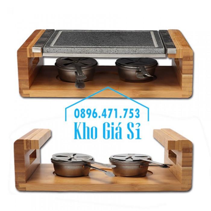 Cung cấp miếng đá, tấm đá nướng thịt Hàn Quốc BBQ hình chữ nhật có đế gỗ8