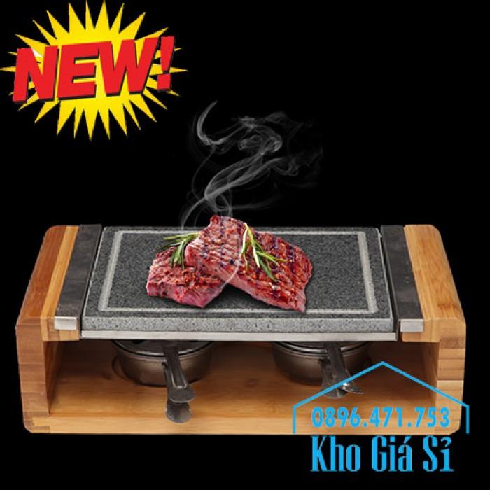Cung cấp miếng đá, tấm đá nướng thịt Hàn Quốc BBQ hình chữ nhật có đế gỗ7