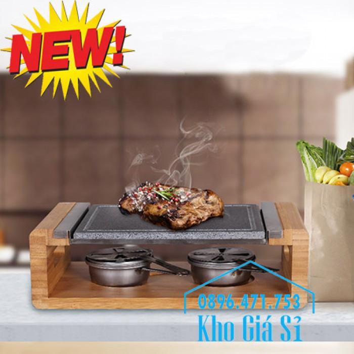 Cung cấp miếng đá, tấm đá nướng thịt Hàn Quốc BBQ hình chữ nhật có đế gỗ11