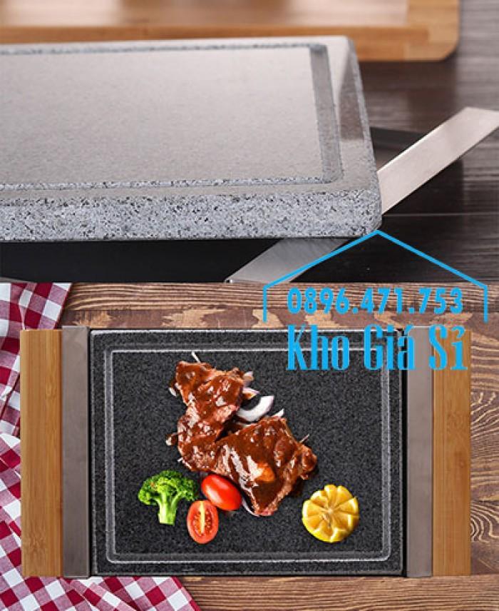 Cung cấp miếng đá, tấm đá nướng thịt Hàn Quốc BBQ hình chữ nhật có đế gỗ15