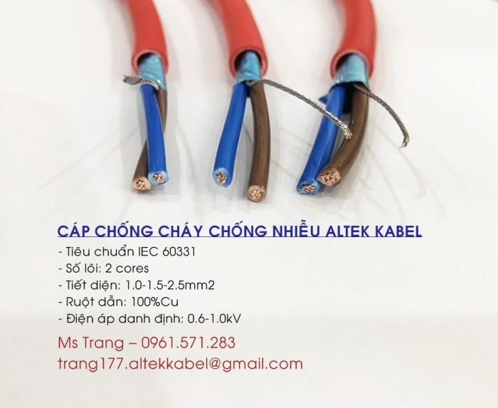Cáp chống cháyAltek Kabel 2x1.5, chống nhiễu Aluminum foil
