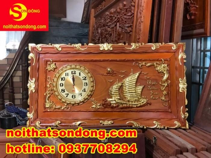 Tranh đồng hồ thuận buồm xuôi giá + Tranh đồng hồ chữ PHÚC dát vàng1