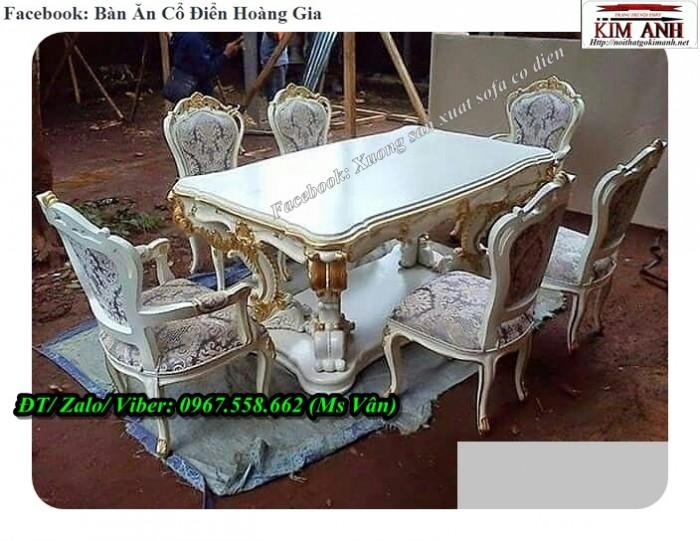 Bộ bàn ghế ăn cổ điển màu trắng 6