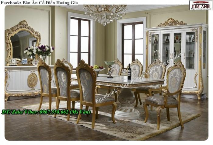 bộ bàn ăn cổ điển dát vàng cao cấp 7