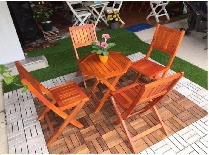 Bàn ghế cafe gỗ quán cóc giá rẻ3