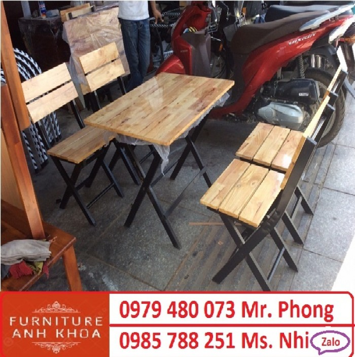 Bộ bàn ghế cafe, bàn ghế gỗ quán nhậu giá rẻ0