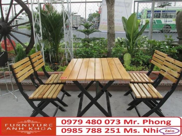 Bộ bàn ghế cafe, bàn ghế gỗ quán nhậu giá rẻ2