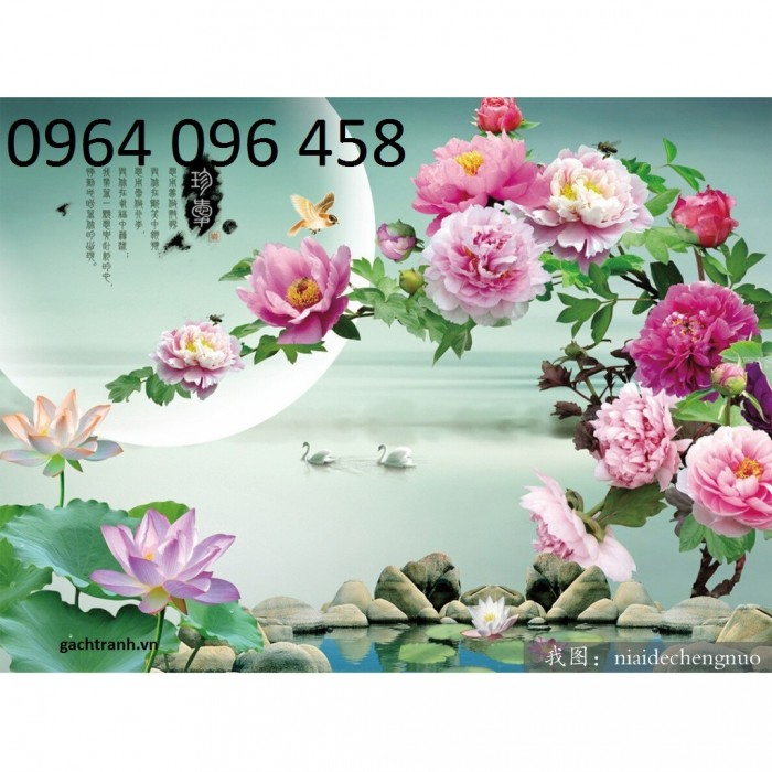 Tranh dán tường hoa mẫu đơn 3d6