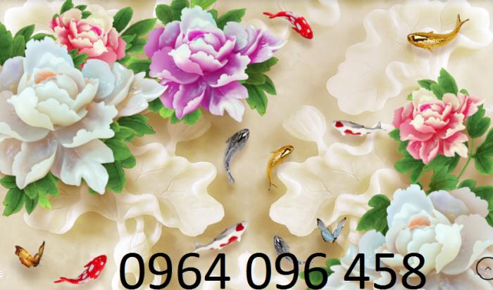 Tranh dán tường hoa mẫu đơn 3d8