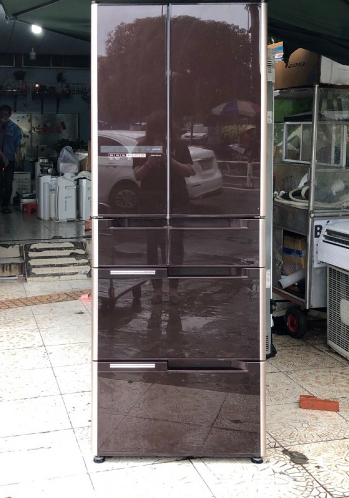 Tủ lạnh HITACHI R-G5200D 6 cánh, mặt gương màu NÂU ĐỎ, 517L, Date 20130
