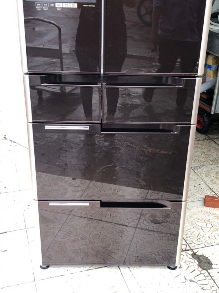 Tủ lạnh HITACHI R-G5200D 6 cánh, mặt gương màu NÂU ĐỎ, 517L, Date 20131