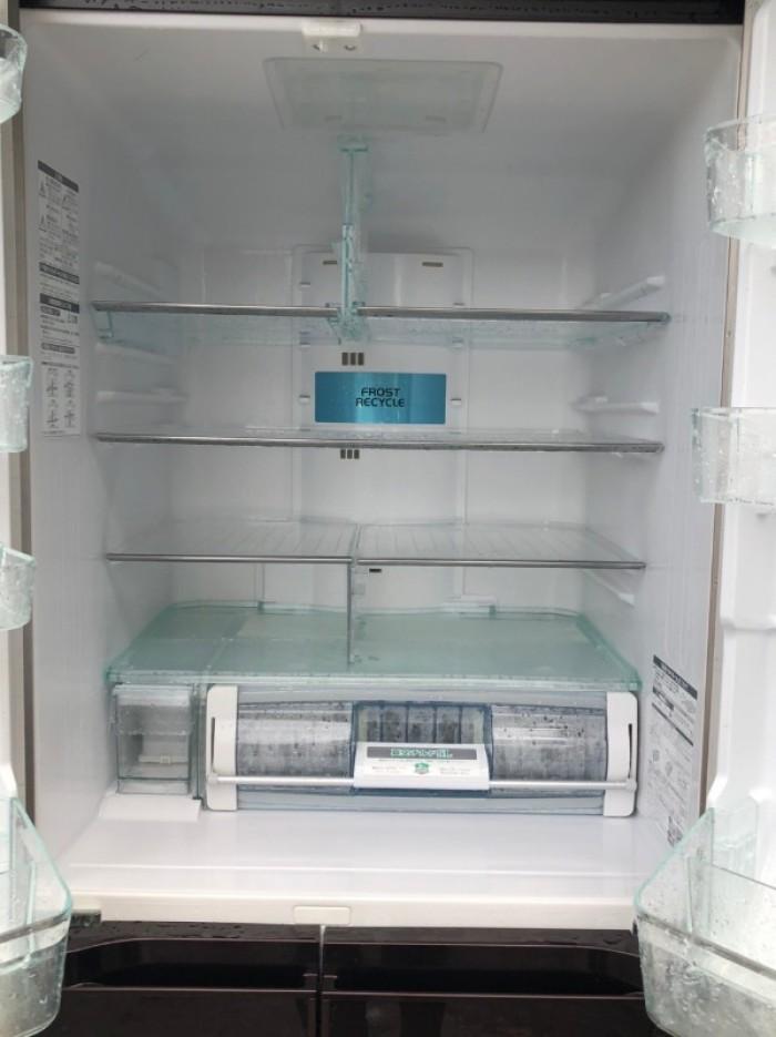 Tủ lạnh HITACHI R-G5200D 6 cánh, mặt gương màu NÂU ĐỎ, 517L, Date 20133