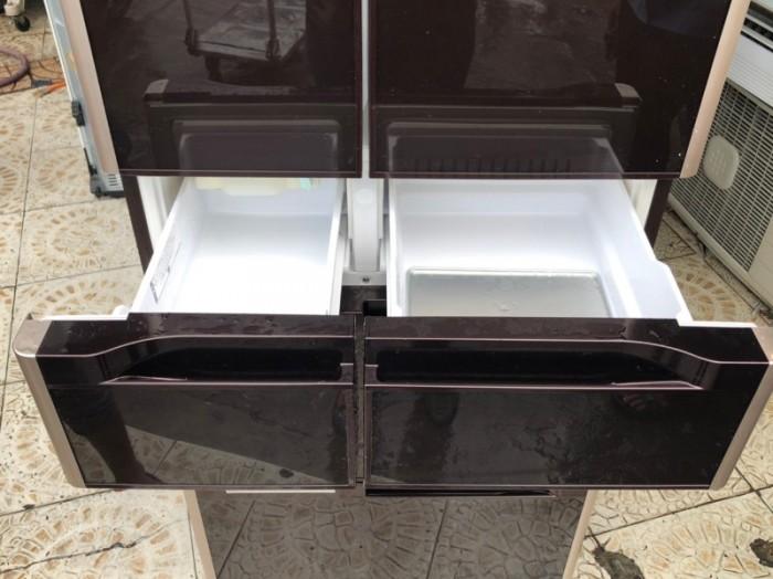 Tủ lạnh HITACHI R-G5200D 6 cánh, mặt gương màu NÂU ĐỎ, 517L, Date 20134