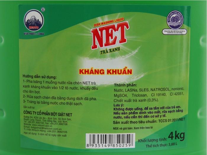 Nước rửa chén NET kháng khuẩn hương trà xanh can 3.88 lít3