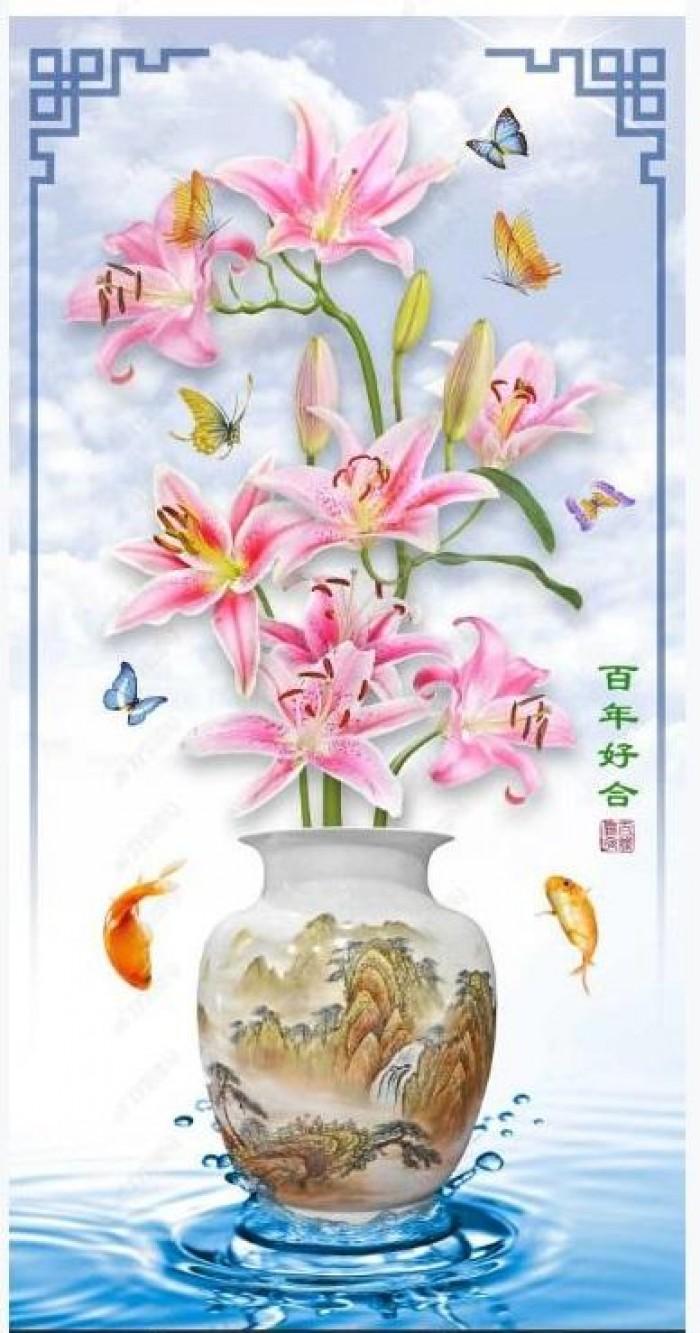 Tranh vườn hoa - tranh gạch2