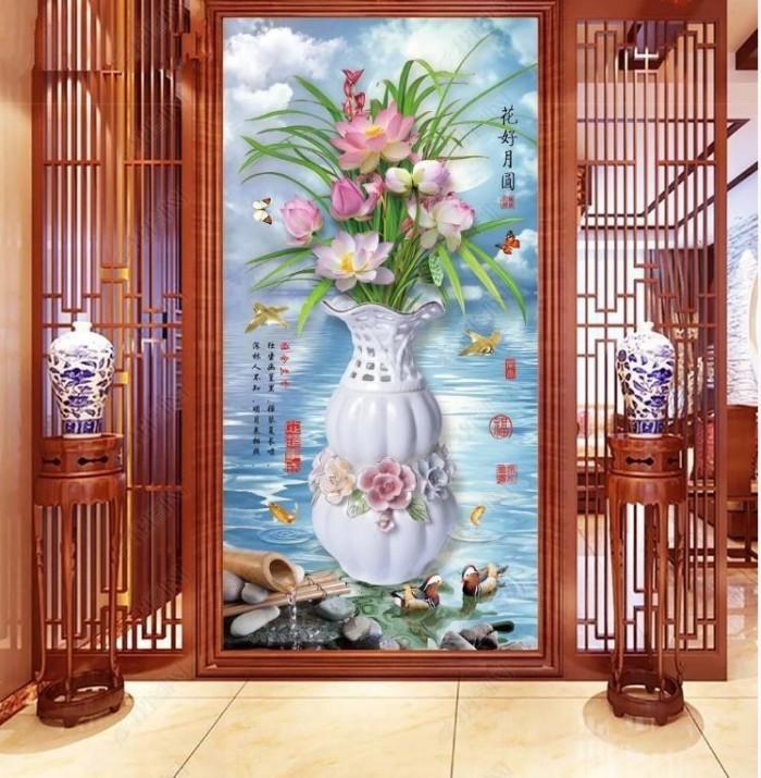Tranh vườn hoa - tranh gạch0