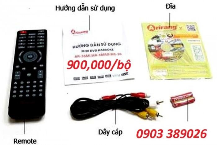 Đầu karaoke 5 số Arirang AR-36  Phụ kiện: Remote, Đĩa KARAOKE + Danh mục bài hát Vol mới 66, Dây AV , Sách hướng dẫn sử dụng,  2