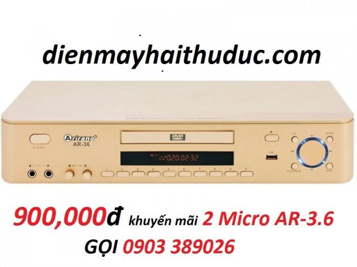 Đầu karaoke 5 số Arirang AR-36 Đặc biệt khuyến mãi 2 micro Arirang AR-3.6C mà giá chỉ có 900K/ trọn bộ3