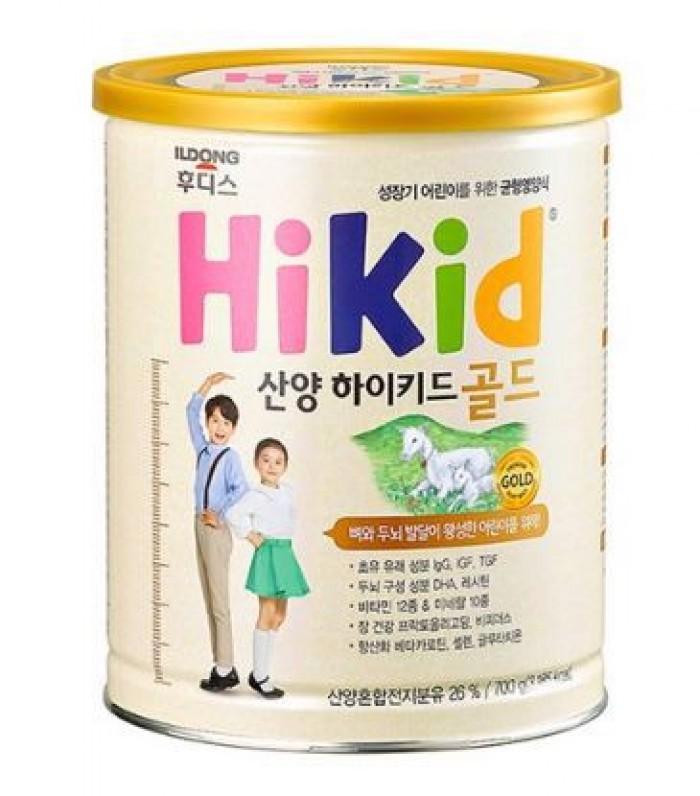 Sữa dê núi Hikid (700g) dành cho bé từ 1 đến 9 tuổi. Thành phần dinh dưỡng giàu Sắt, Canxi, Vitamin D, Kẽm và nhiều loại nguyên tố vi lượng khác giúp bé yêu cao lớn, khỏe mạnh và thông minh. Sản xuất tại Hàn Quốc.