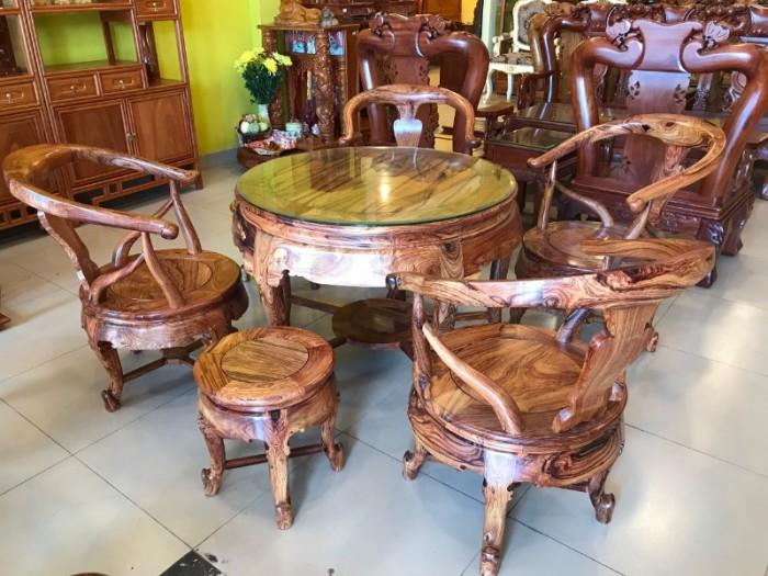 Bộ bàn ghế móc thúng gỗ cẩm lai hàng tuyển chọn VIP6