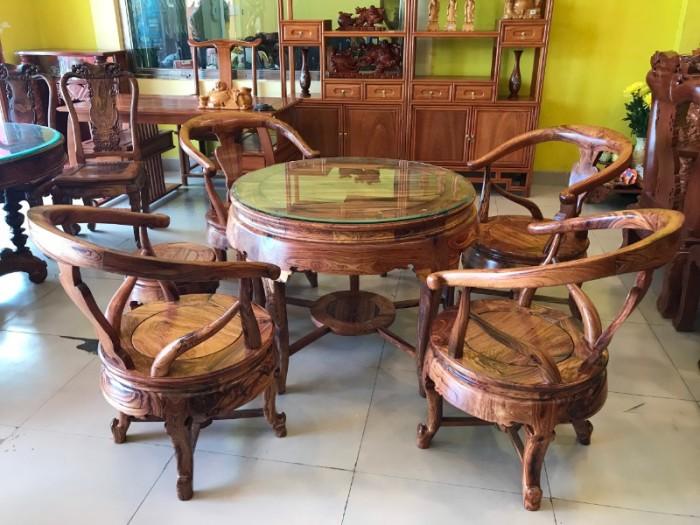 Bộ bàn ghế móc thúng gỗ cẩm lai hàng tuyển chọn VIP8