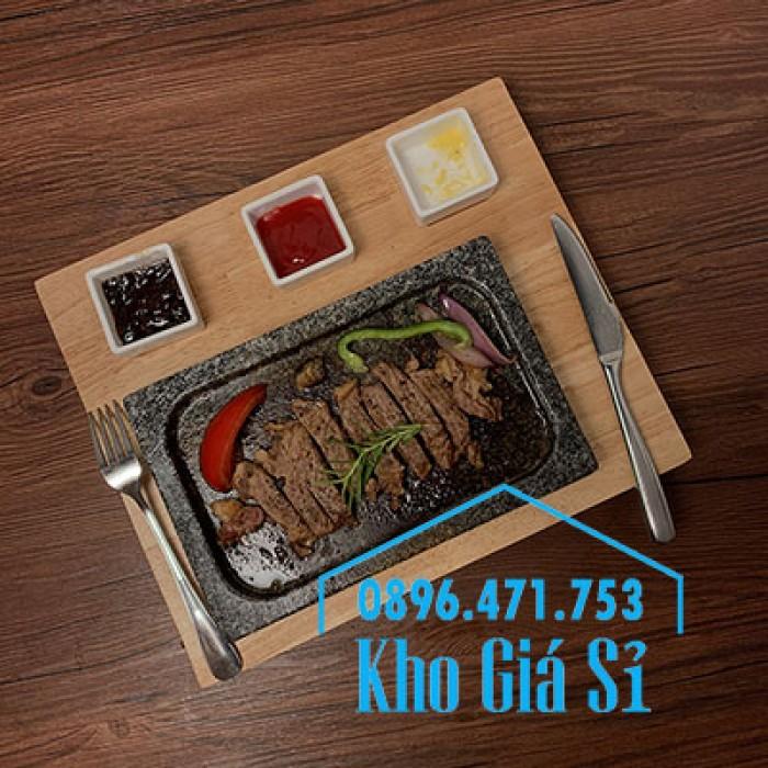 Miếng đá/Tấm đá Hàn Quốc nướng thịt BBQ, thịt bò có khay gỗ lớn để phục vụ2