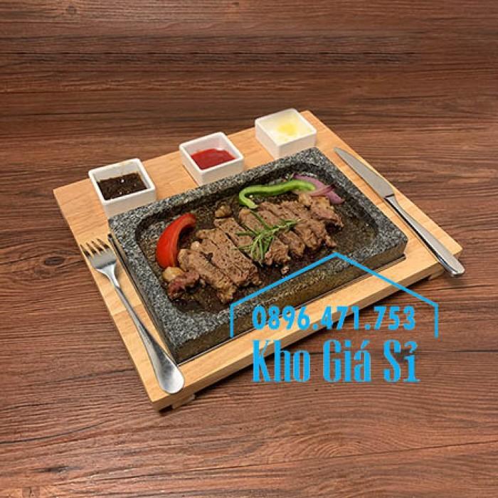 Miếng đá/Tấm đá Hàn Quốc nướng thịt BBQ, thịt bò có khay gỗ lớn để phục vụ1